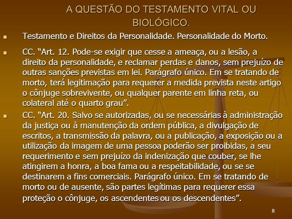9 A QUESTÃO DO TESTAMENTO VITAL OU BIOLÓGICO.Testamento e Direitos da Personalidade.
