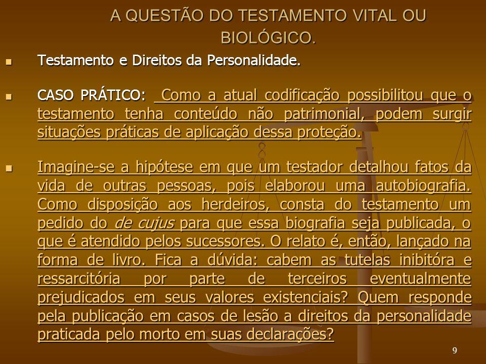 9 A QUESTÃO DO TESTAMENTO VITAL OU BIOLÓGICO. Testamento e Direitos da Personalidade. Testamento e Direitos da Personalidade. CASO PRÁTICO : Como a at