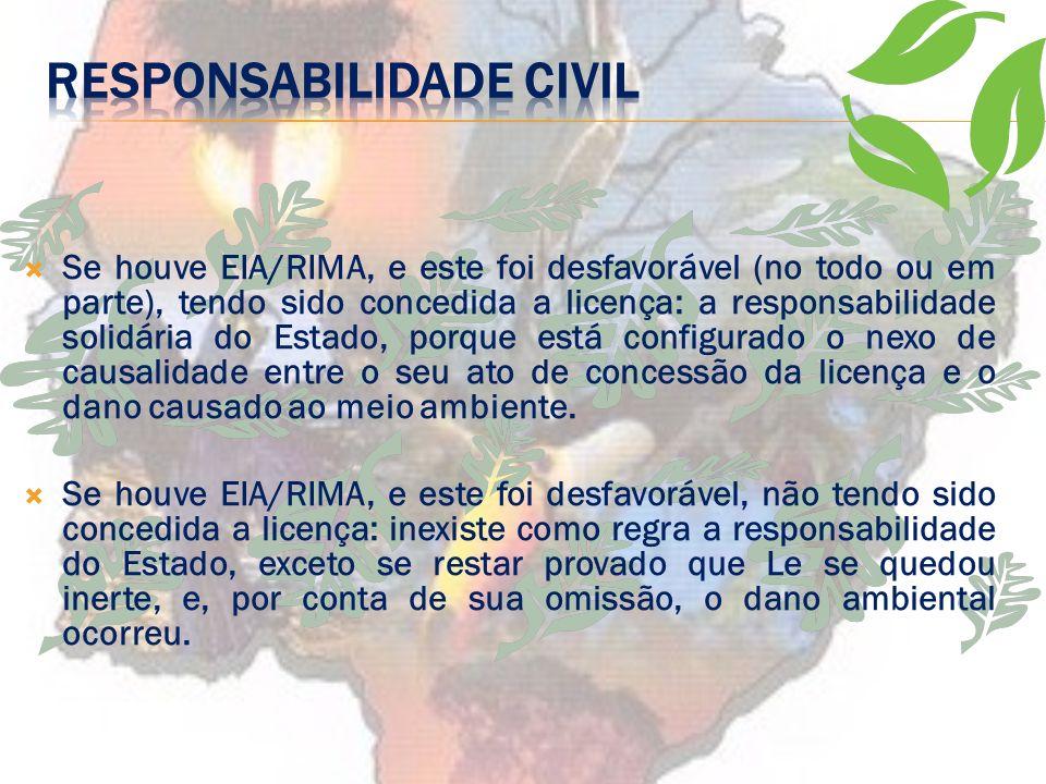 O Poder Público poderá ser responsabilizado pelos danos civis causados pela atividade do empreendedor nos seguintes casos: Se não houve EIA/RIMA, esta