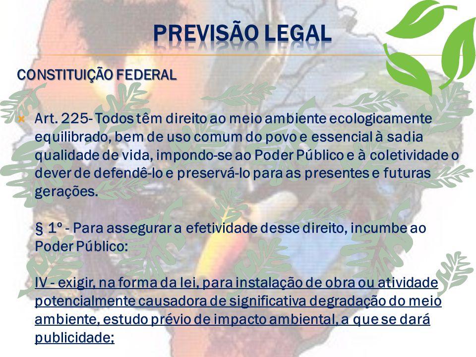 PREVISÃO LEGAL Lei 6.938/81 Art. 9º - São instrumentos da Política Nacional do Meio Ambiente: I - o estabelecimento de padrões de qualidade ambiental;