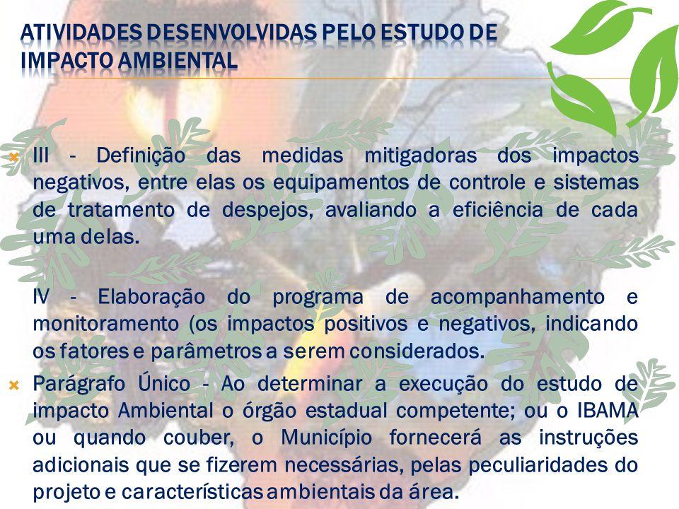 II - Análise dos impactos ambientais do projeto e de suas alternativas, através de identificação, previsão da magnitude e interpretação da importância