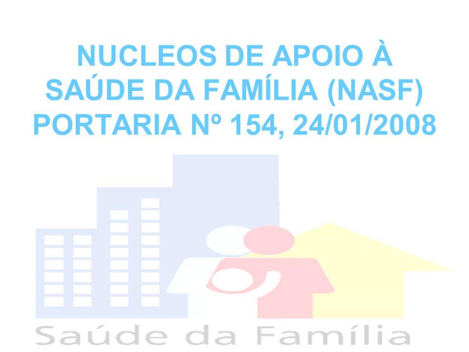 Valor de Incentivo Federal NASF 1: R$ 20.000,00 a cada mês, repassado diretamente do FNS aos FMS; NASF 2: R$ 6.000,00 a cada mês, repassado diretamente do FNS aos FMS; Os valores serão transferidos a cada mês, tendo como base o nº de NASF cadastrados no SCNES; Os procedimentos dos profissionais deverão ser registrados no SIA/SUS; Os repasses financeiros farão parte da fração variável do PAB e componham o Bloco Financeiro da Atenção Básica; Fluxos e requisitos mínimos para manutenção da transferência e solicitação de crédito retroativo os requisitos definidos na portaria 648/2006.