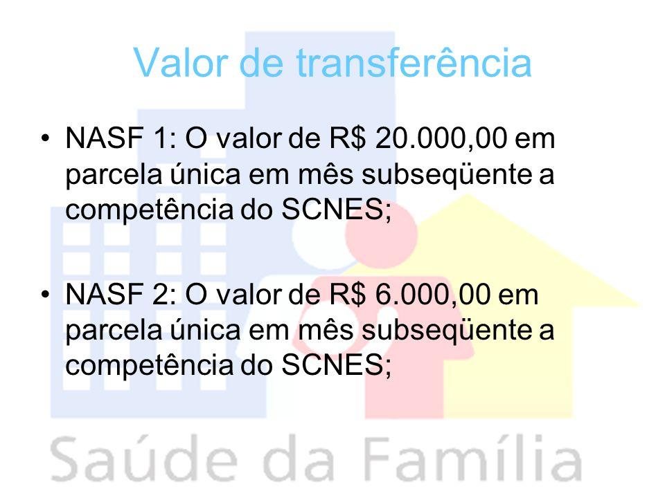Valor de transferência NASF 1: O valor de R$ 20.000,00 em parcela única em mês subseqüente a competência do SCNES; NASF 2: O valor de R$ 6.000,00 em p