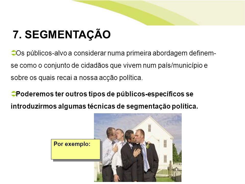 7. SEGMENTAÇÃO Os públicos-alvo a considerar numa primeira abordagem definem- se como o conjunto de cidadãos que vivem num país/município e sobre os q