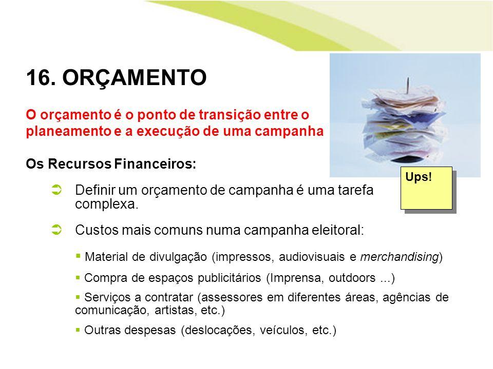 16. ORÇAMENTO O orçamento é o ponto de transição entre o planeamento e a execução de uma campanha Os Recursos Financeiros: Definir um orçamento de cam