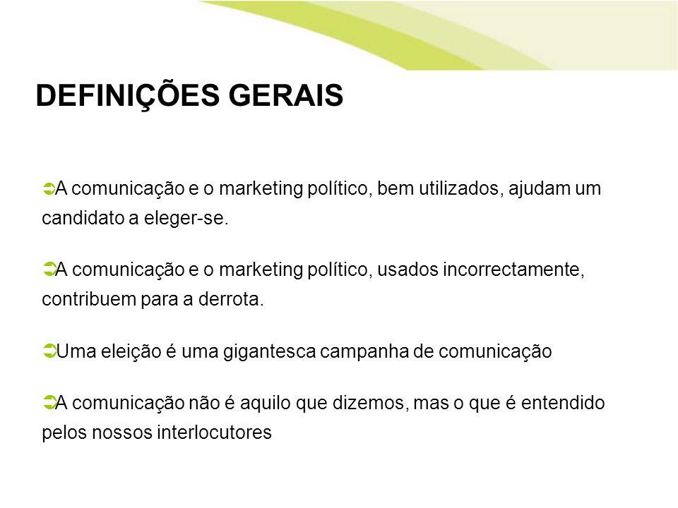 DEFINIÇÕES GERAIS A comunicação e o marketing político, bem utilizados, ajudam um candidato a eleger-se. A comunicação e o marketing político, usados