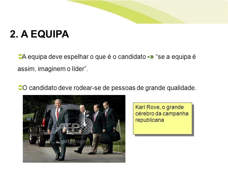 2. A EQUIPA A equipa deve espelhar o que é o candidato -» se a equipa é assim, imaginem o líder. O candidato deve rodear-se de pessoas de grande quali