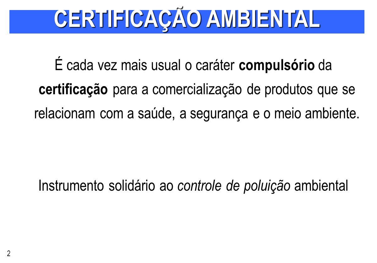 É cada vez mais usual o caráter compulsório da certificação para a comercialização de produtos que se relacionam com a saúde, a segurança e o meio ambiente.