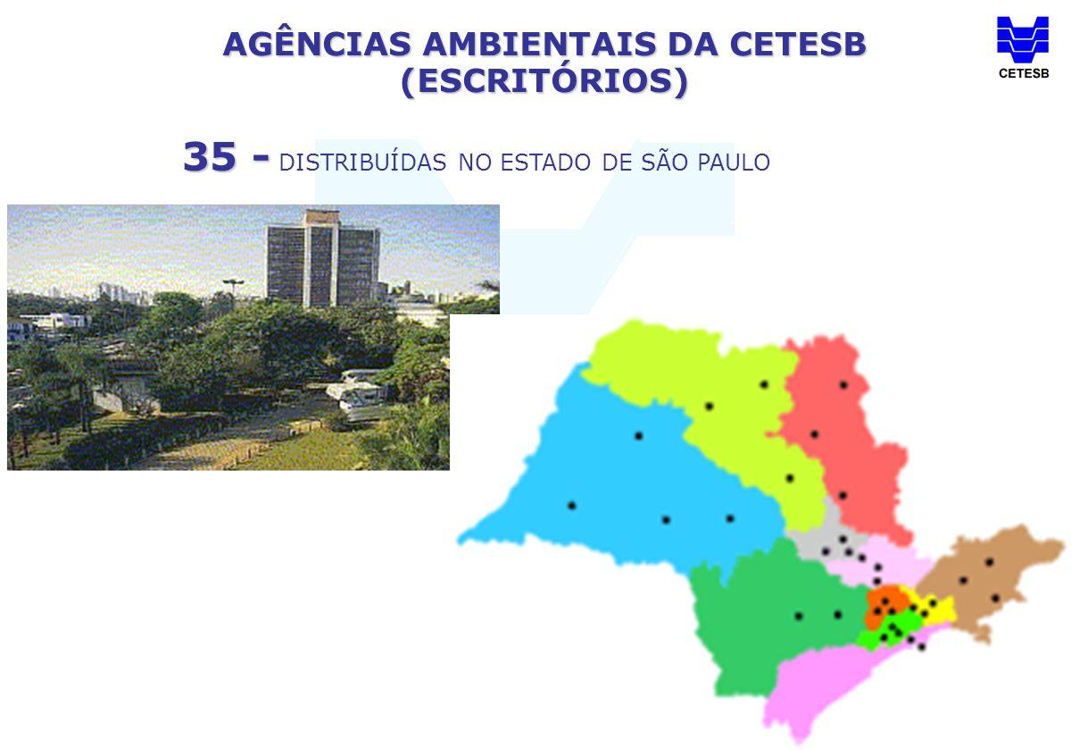 AGÊNCIAS AMBIENTAIS DA CETESB (ESCRITÓRIOS) 35 - 35 - DISTRIBUÍDAS NO ESTADO DE SÃO PAULO