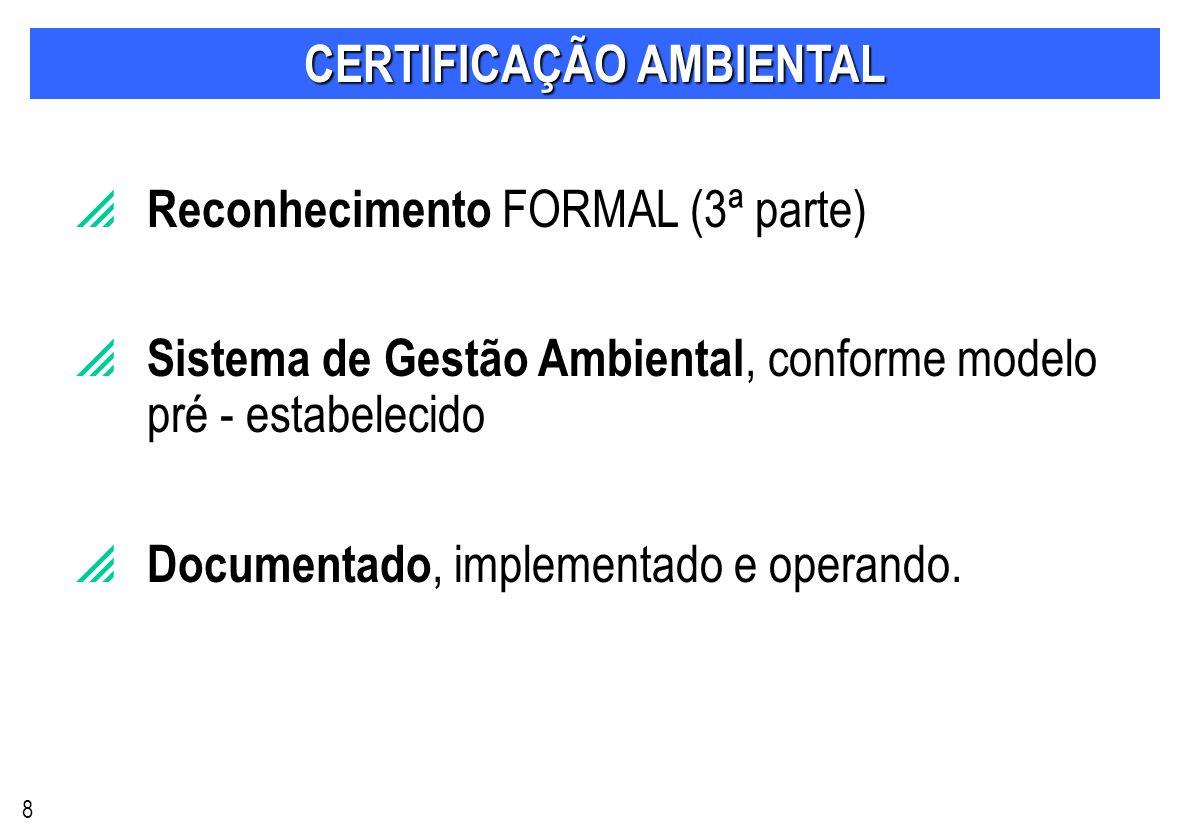 CERTIFICAÇÃO AMBIENTAL Reconhecimento FORMAL (3ª parte) Sistema de Gestão Ambiental, conforme modelo pré - estabelecido Documentado, implementado e operando.