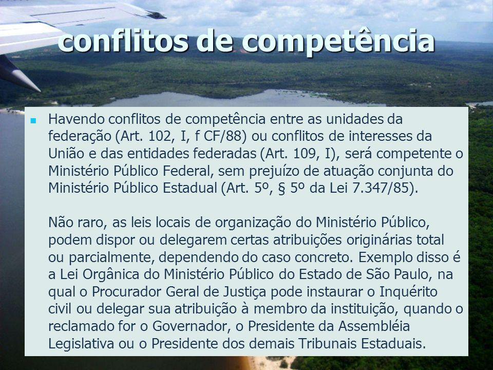 conflitos de competência Havendo conflitos de competência entre as unidades da federação (Art. 102, I, f CF/88) ou conflitos de interesses da União e
