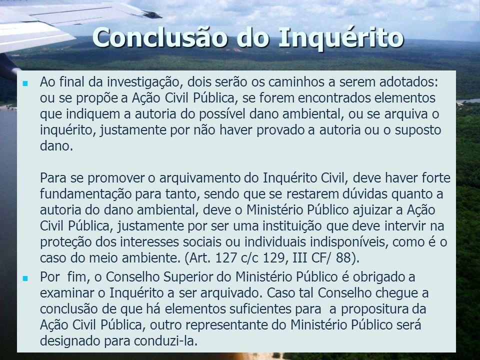 Conclusão do Inquérito Ao final da investigação, dois serão os caminhos a serem adotados: ou se propõe a Ação Civil Pública, se forem encontrados elem