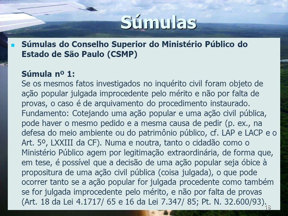 Súmulas Súmulas do Conselho Superior do Ministério Público do Estado de São Paulo (CSMP) Súmula nº 1: Se os mesmos fatos investigados no inquérito civ