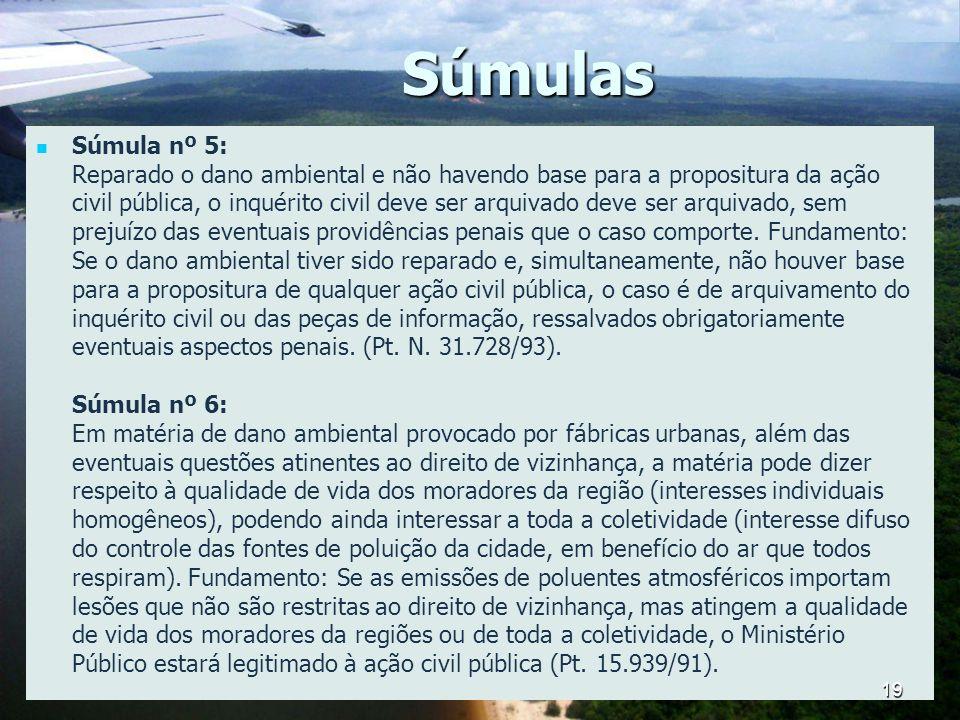Súmulas Súmula nº 5: Reparado o dano ambiental e não havendo base para a propositura da ação civil pública, o inquérito civil deve ser arquivado deve