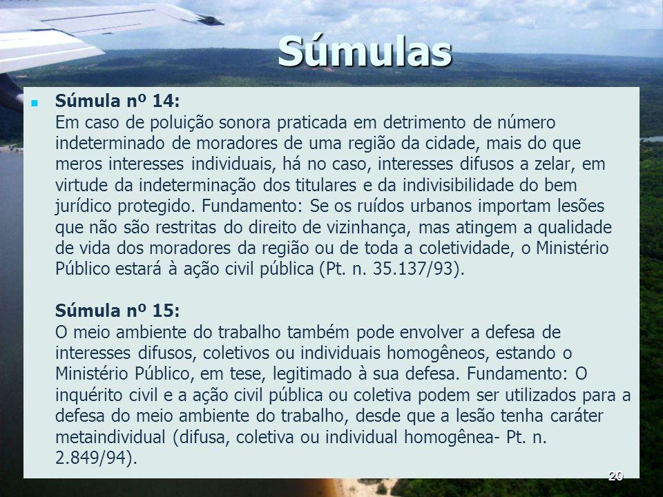 Súmulas Súmula nº 14: Em caso de poluição sonora praticada em detrimento de número indeterminado de moradores de uma região da cidade, mais do que mer