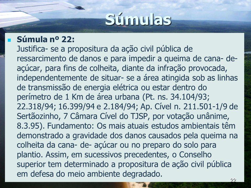 Súmulas Súmula nº 22: Justifica- se a propositura da ação civil pública de ressarcimento de danos e para impedir a queima de cana- de- açúcar, para fi