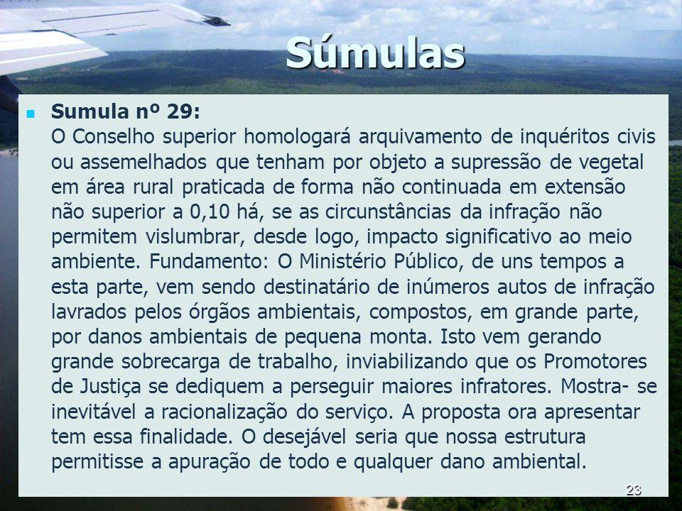 Súmulas Sumula nº 29: O Conselho superior homologará arquivamento de inquéritos civis ou assemelhados que tenham por objeto a supressão de vegetal em