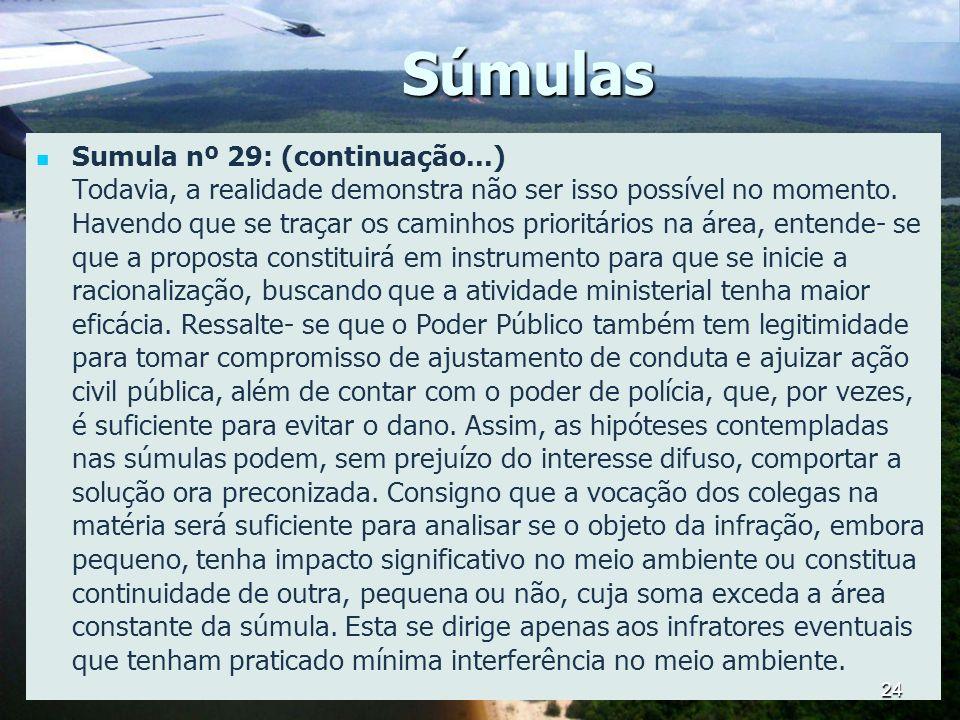 Súmulas Sumula nº 29: (continuação...) Todavia, a realidade demonstra não ser isso possível no momento. Havendo que se traçar os caminhos prioritários