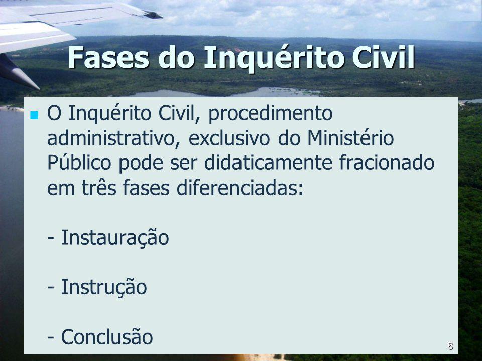 Fases do Inquérito Civil O Inquérito Civil, procedimento administrativo, exclusivo do Ministério Público pode ser didaticamente fracionado em três fas