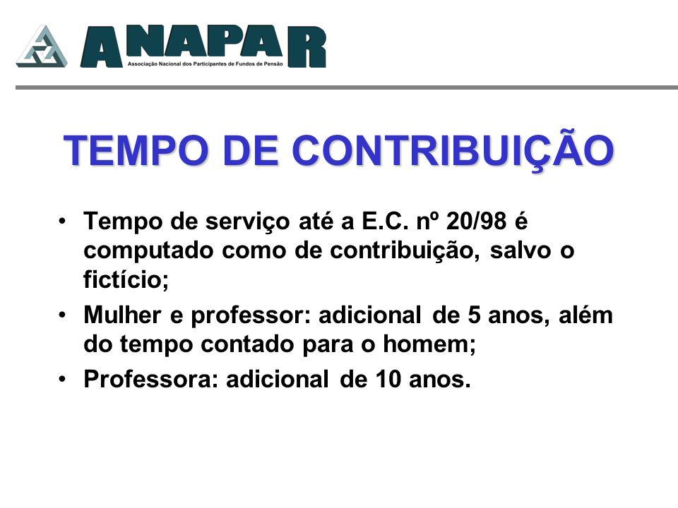 TEMPO DE CONTRIBUIÇÃO Tempo de serviço até a E.C. nº 20/98 é computado como de contribuição, salvo o fictício; Mulher e professor: adicional de 5 anos