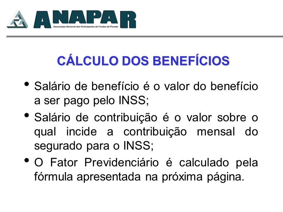 CÁLCULO DOS BENEFÍCIOS CÁLCULO DOS BENEFÍCIOS Salário de benefício é o valor do benefício a ser pago pelo INSS; Salário de contribuição é o valor sobr
