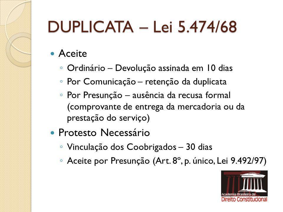DUPLICATA – Lei 5.474/68 Aceite Ordinário – Devolução assinada em 10 dias Por Comunicação – retenção da duplicata Por Presunção – ausência da recusa f