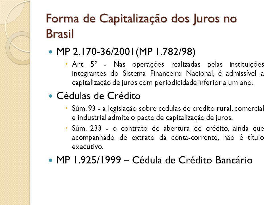 Forma de Capitalização dos Juros no Brasil MP 2.170-36/2001(MP 1.782/98) Art. 5º - Nas operações realizadas pelas instituições integrantes do Sistema