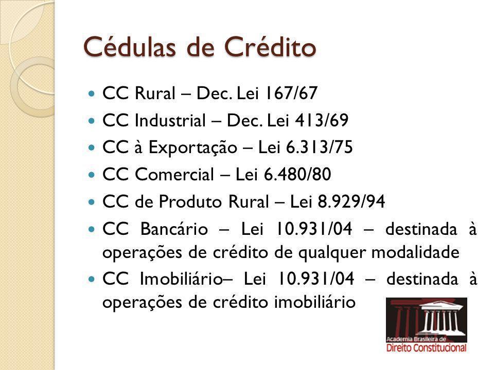 Cédulas de Crédito CC Rural – Dec. Lei 167/67 CC Industrial – Dec. Lei 413/69 CC à Exportação – Lei 6.313/75 CC Comercial – Lei 6.480/80 CC de Produto