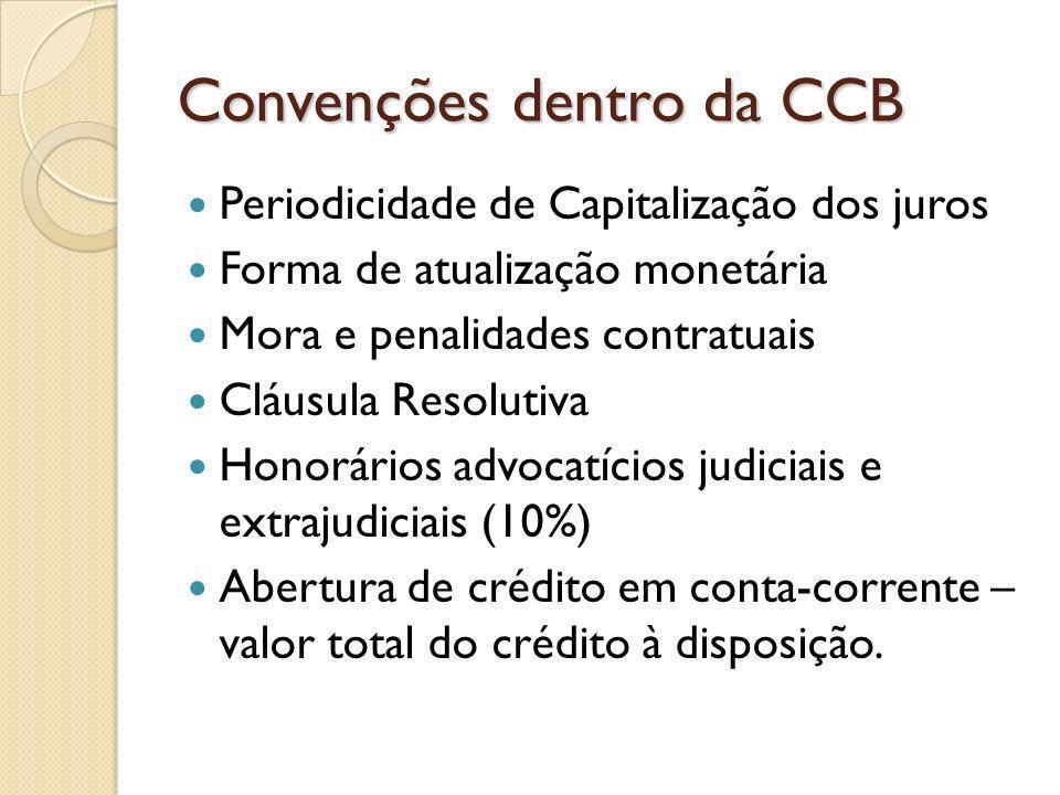 Convenções dentro da CCB Periodicidade de Capitalização dos juros Forma de atualização monetária Mora e penalidades contratuais Cláusula Resolutiva Ho