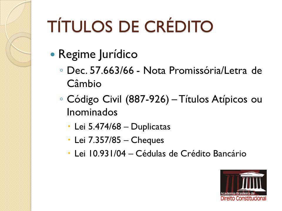 TÍTULOS DE CRÉDITO Regime Jurídico Dec. 57.663/66 - Nota Promissória/Letra de Câmbio Código Civil (887-926) – Títulos Atípicos ou Inominados Lei 5.474