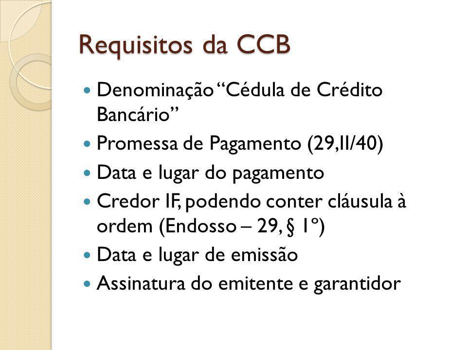 Requisitos da CCB Denominação Cédula de Crédito Bancário Promessa de Pagamento (29,II/40) Data e lugar do pagamento Credor IF, podendo conter cláusula