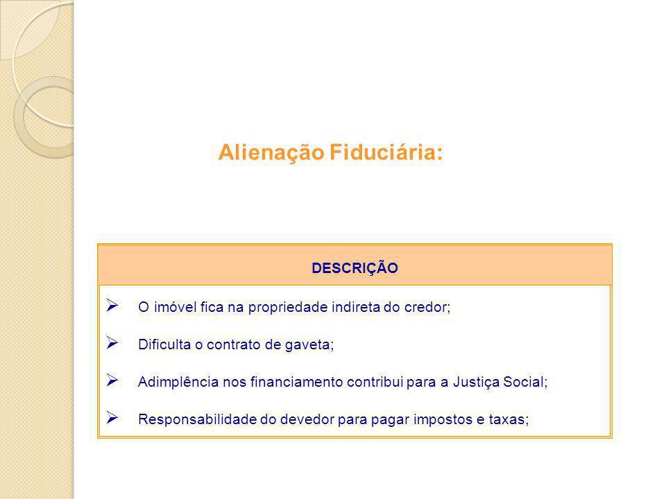 Alienação Fiduciária: O imóvel fica na propriedade indireta do credor; Dificulta o contrato de gaveta; Adimplência nos financiamento contribui para a