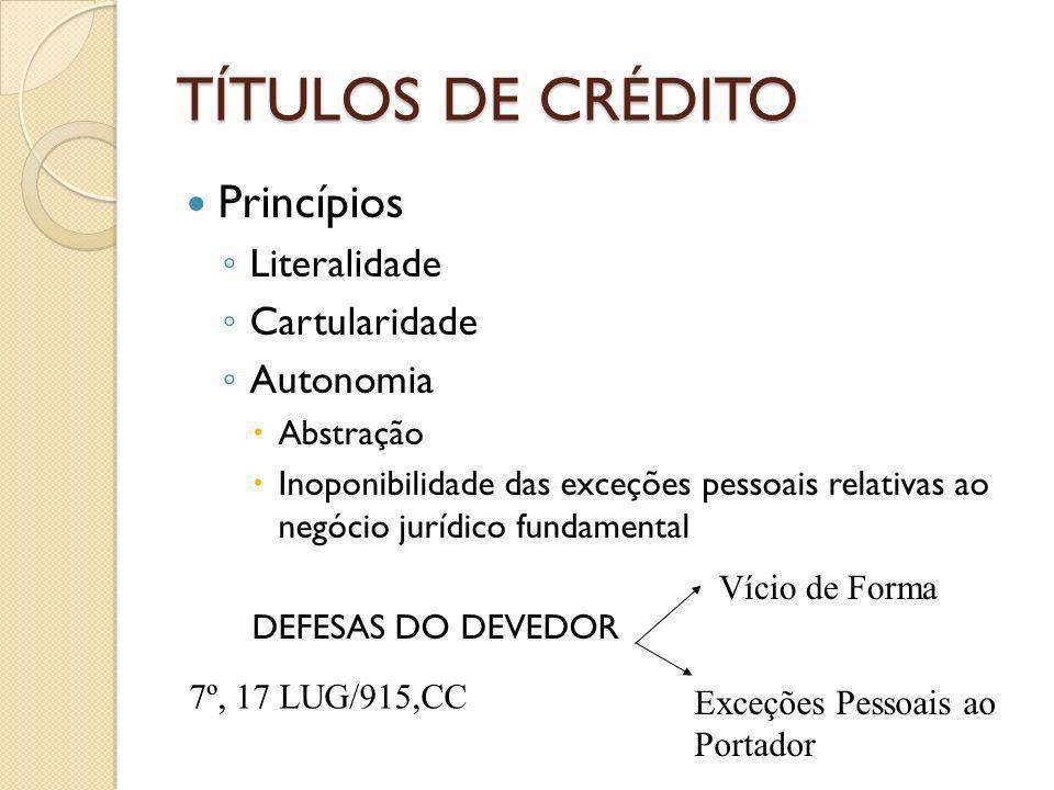TÍTULOS DE CRÉDITO Princípios Literalidade Cartularidade Autonomia Abstração Inoponibilidade das exceções pessoais relativas ao negócio jurídico funda