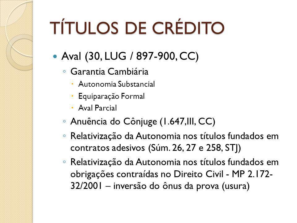 TÍTULOS DE CRÉDITO Aval (30, LUG / 897-900, CC) Garantia Cambiária Autonomia Substancial Equiparação Formal Aval Parcial Anuência do Cônjuge (1.647,II