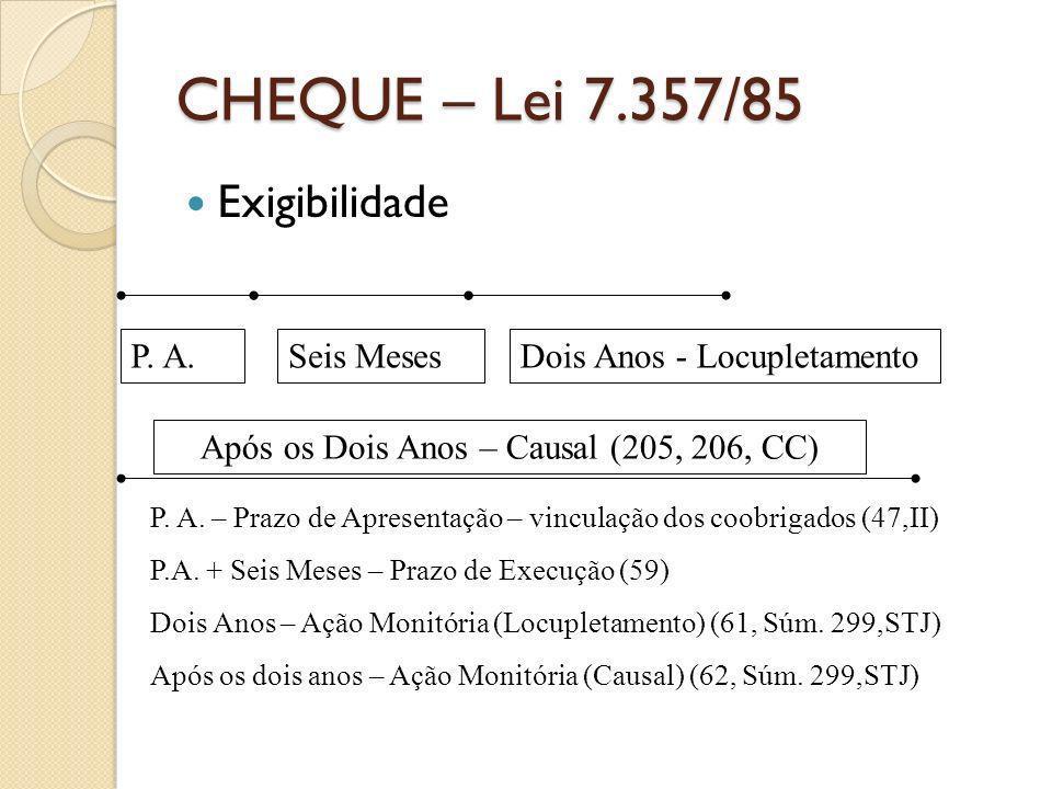 CHEQUE – Lei 7.357/85 Exigibilidade P. A.Seis MesesDois Anos - Locupletamento P. A. – Prazo de Apresentação – vinculação dos coobrigados (47,II) P.A.