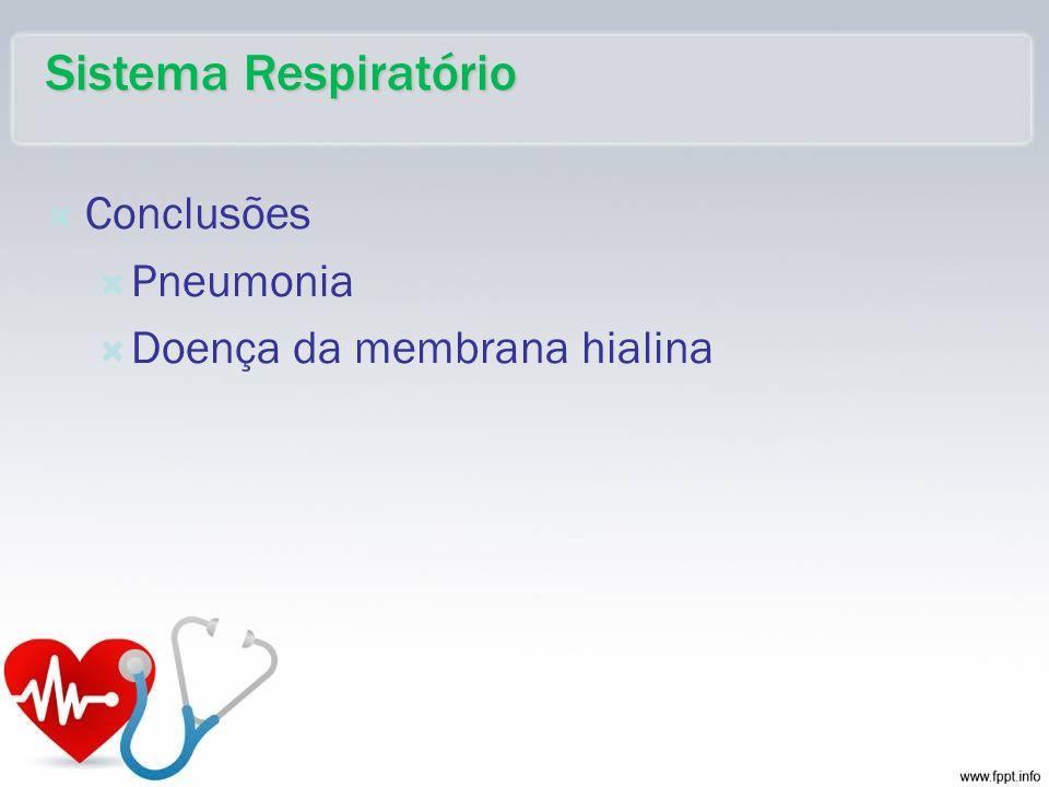 Conclusões Pneumonia Doença da membrana hialina Sistema Respiratório