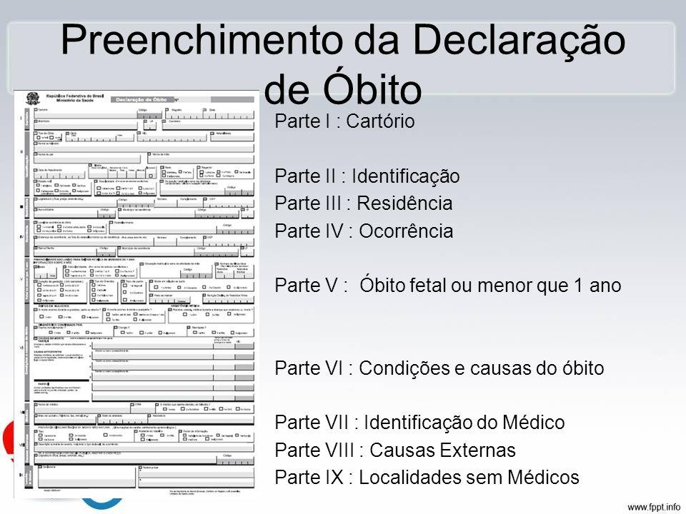 Preenchimento da Declaração de Óbito Parte I : Cartório Parte II : Identificação Parte III : Residência Parte IV : Ocorrência Parte V : Óbito fetal ou
