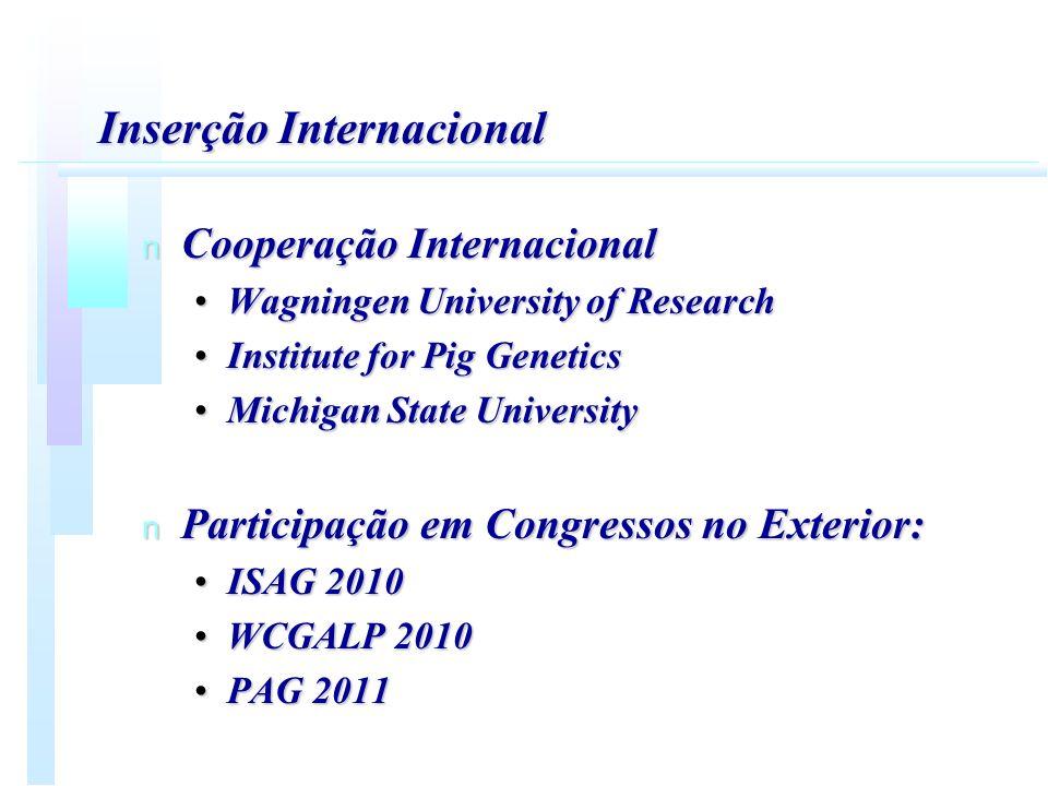 Inserção Internacional n Cooperação Internacional Wagningen University of ResearchWagningen University of Research Institute for Pig GeneticsInstitute