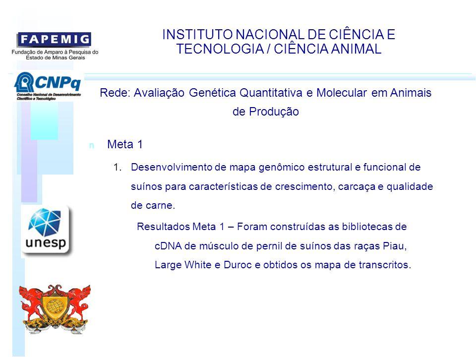 INSTITUTO NACIONAL DE CIÊNCIA E TECNOLOGIA / CIÊNCIA ANIMAL Rede: Avaliação Genética Quantitativa e Molecular em Animais de Produção n Meta 1 1.Desenv