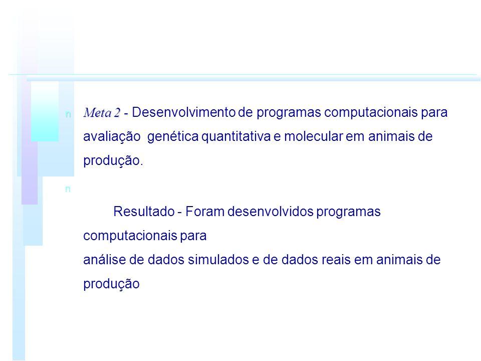 Meta 2 - Meta 2 - Desenvolvimento de programas computacionais para avaliação genética quantitativa e molecular em animais de produção. n n Resultado -