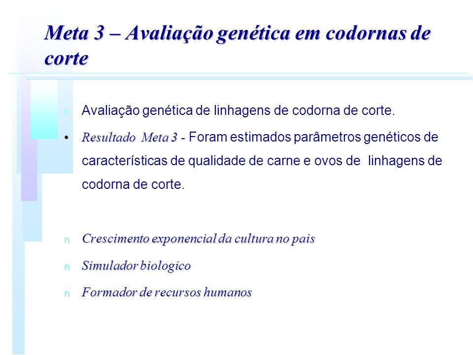 Meta 3 – Avaliação genética em codornas de corte n n Avaliação genética de linhagens de codorna de corte. Resultado Meta 3 -Resultado Meta 3 - Foram e