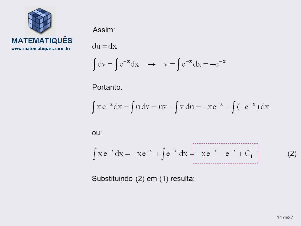 Assim: Portanto: ou: (2) Substituindo (2) em (1) resulta: 14 de37