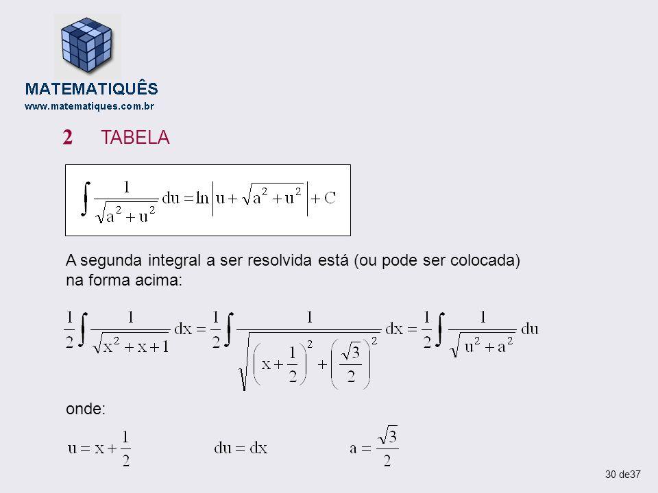 A segunda integral a ser resolvida está (ou pode ser colocada) na forma acima: 2 TABELA onde: 30 de37
