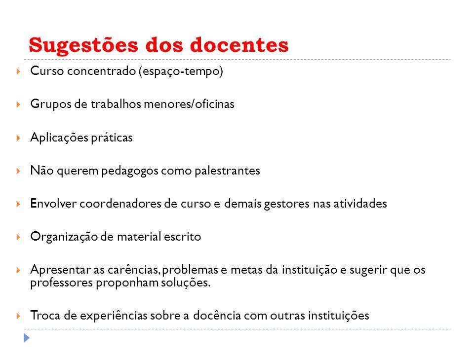 Sugestões dos docentes Curso concentrado (espaço-tempo) Grupos de trabalhos menores/oficinas Aplicações práticas Não querem pedagogos como palestrante