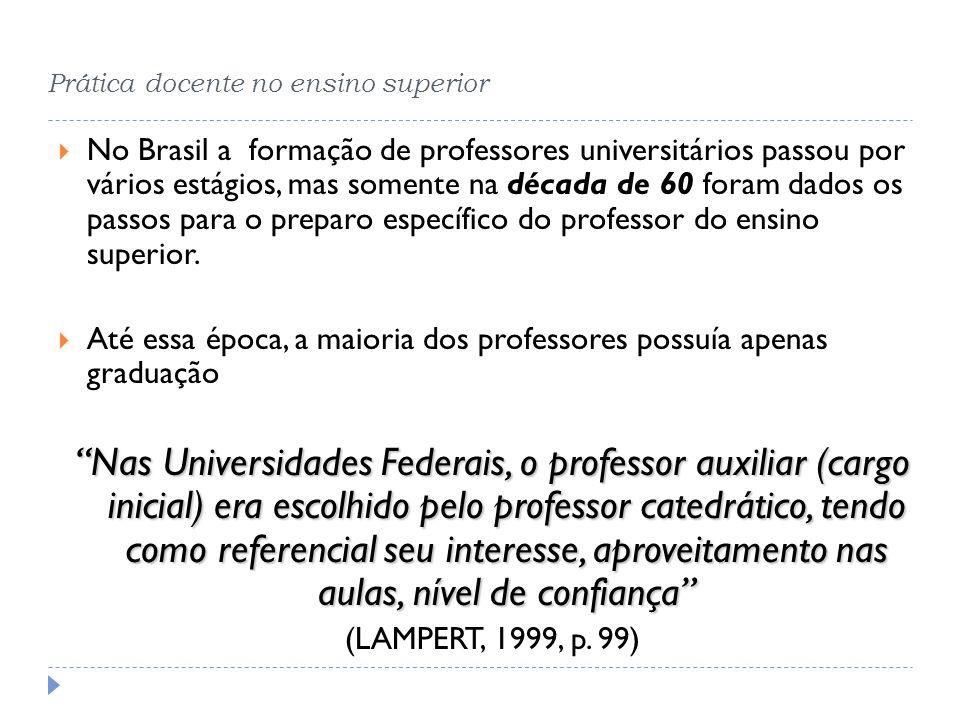 Prática docente no ensino superior No Brasil a formação de professores universitários passou por vários estágios, mas somente na década de 60 foram da