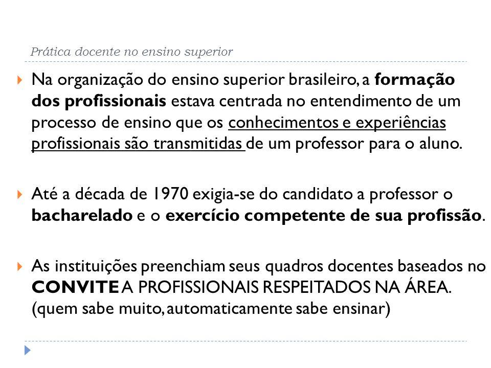 Prática docente no ensino superior Na organização do ensino superior brasileiro, a formação dos profissionais estava centrada no entendimento de um pr
