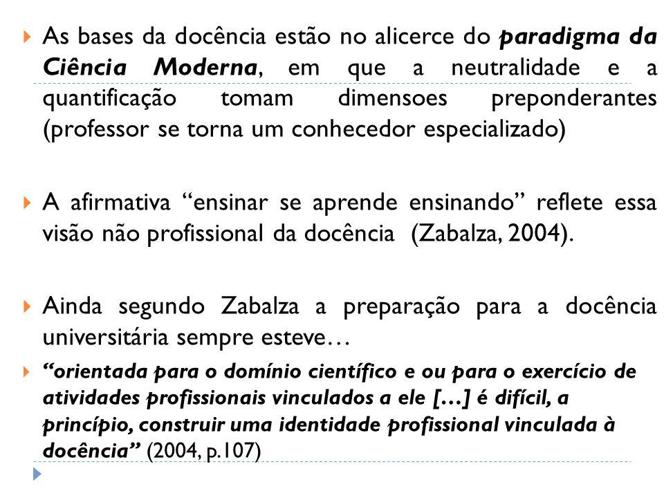 As bases da docência estão no alicerce do paradigma da Ciência Moderna, em que a neutralidade e a quantificação tomam dimensoes preponderantes (profes