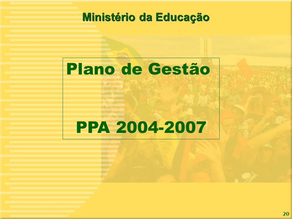 20 Ministério da Educação Plano de Gestão PPA 2004-2007