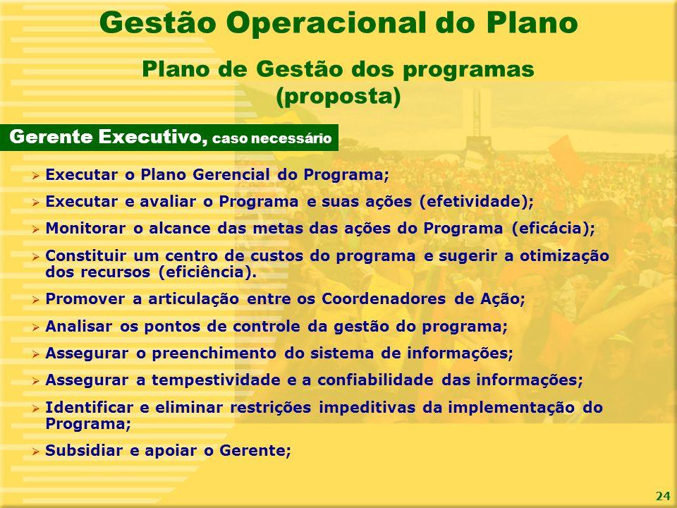 24 Gerente Executivo, caso necessário Plano de Gestão dos programas (proposta) Gestão Operacional do Plano Executar o Plano Gerencial do Programa; Exe
