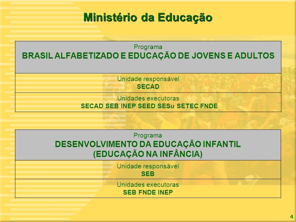 4 Ministério da Educação Programa BRASIL ALFABETIZADO E EDUCAÇÃO DE JOVENS E ADULTOS Unidade responsável SECAD Unidades executoras SECAD SEB INEP SEED